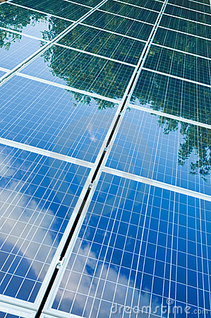 Solar panels with green reflection