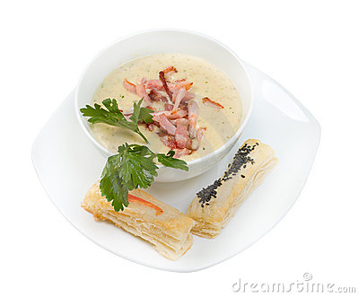 Cream soup. ham and bun