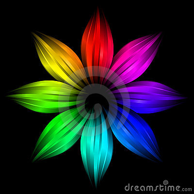Abstract futuristic rainbow flower