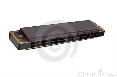 Black harmonica isolated on white