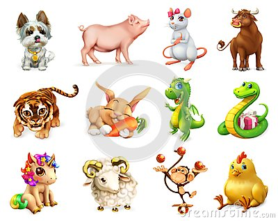 stock image of funny animal in the chinese zodiac, chinese calendar. vector icon set