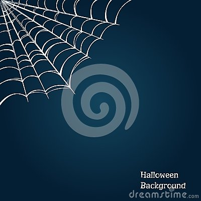Halloween background with a cobweb in the corner. Vector illustration