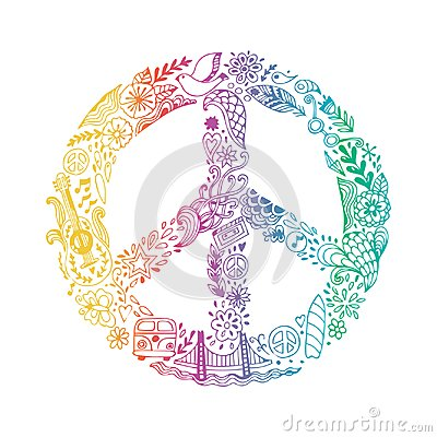 Vector peace symbol made of hippie theme doodle handdrawn icons, pacifism sign. Hippie style ornamental background. Love