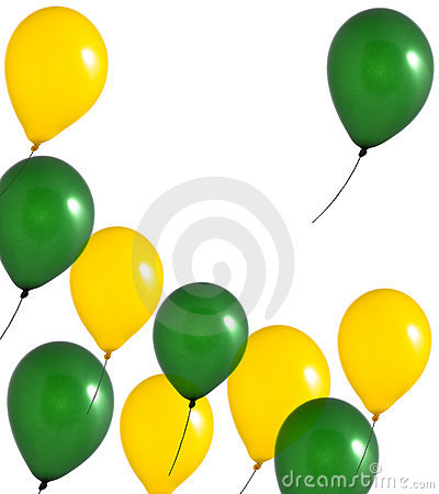 Yellow and green balloons on white background