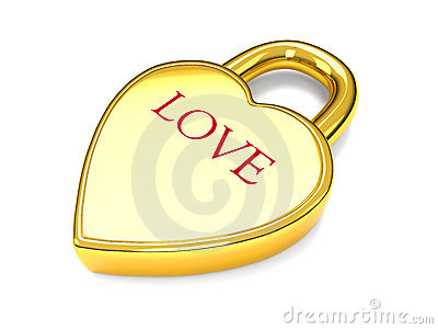 Gold love heart lock
