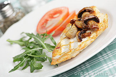 Roasted chicken breast with mushrooms