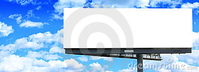 Blank billboard against blue sky