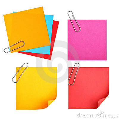 Blank colorful papers