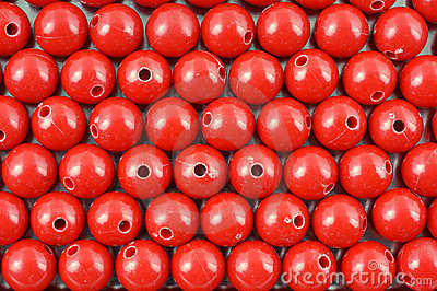 Rows of red beads