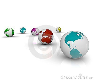Colorful Earths on White Background