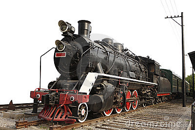 Old steam train on isolated background
