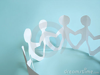 Paper people in a circle. Team
