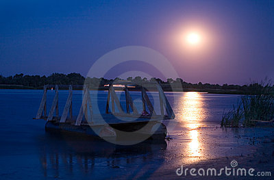 Full moon on river