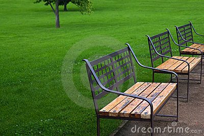 Three benches in park