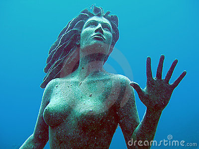 Mermaid Statue underwater