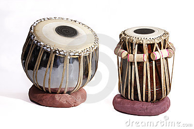 Isolated set of Traditional Indian Tabla Drums on