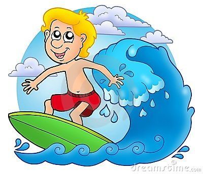 Surfer boy with clouds