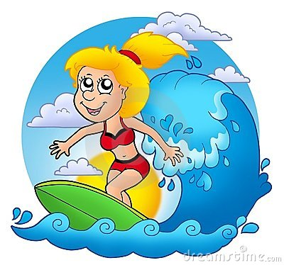 Surfer girl with Sun