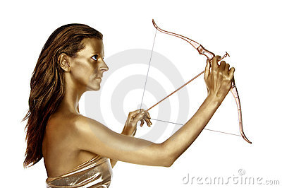 Gold woman with a bow and arrow