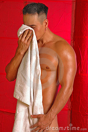 Asian male with towel
