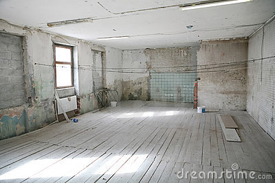 Empty room in old building