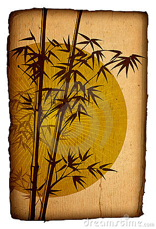 Asian Bamboo on grunge cardboard, Illustration