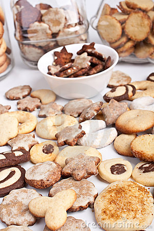 Homemade cookies with various cookie forms