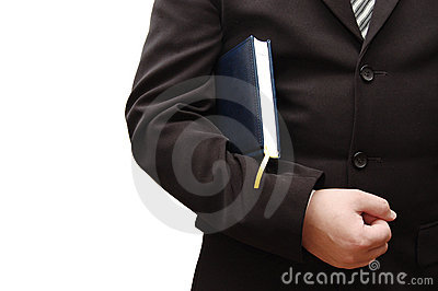 Businessman with Business book on white background