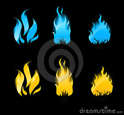 Blue and orange glowing flames on black background