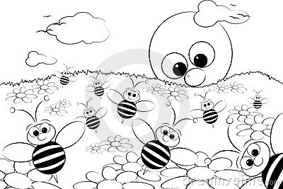 Coloring Page - Landscape with sun and bees
