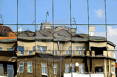 Building reflection in mirrors and deformity