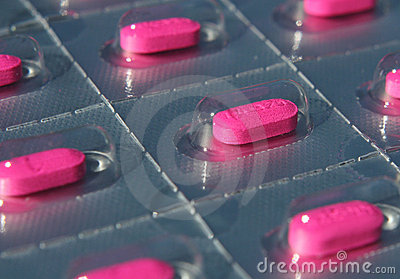 Blister pack of pink pills
