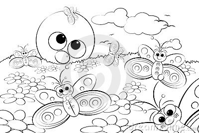 Coloring Page - Landscape with sun and butterflies