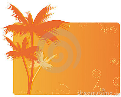 Orange banner with palm