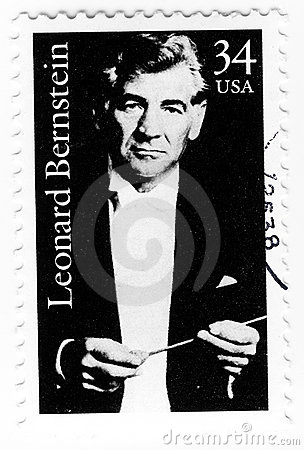 Stamp with composer Leonard Bernstain