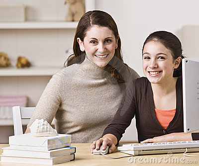 Mother and Daughter on Laptop