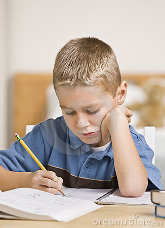 Boy Working on Homework