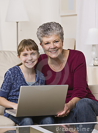 Grandmother and Granddaughter Online