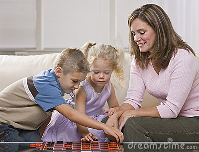 Woman Playing with Children