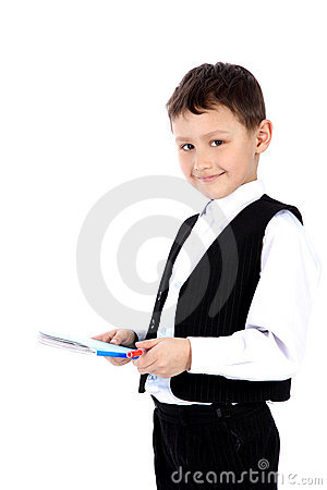Schoolboy with book and pen