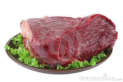 Huge uncooked meat on plate