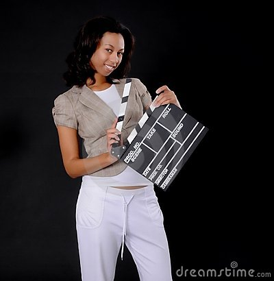 African American Girl with Cinema Clapboard
