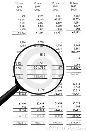 Magnifying Glass On Financial Balance Sheet