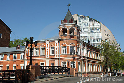Stone bridge and old red building in Voronezh