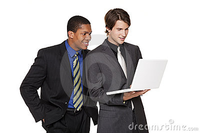 Businesspeople - happy laptop team