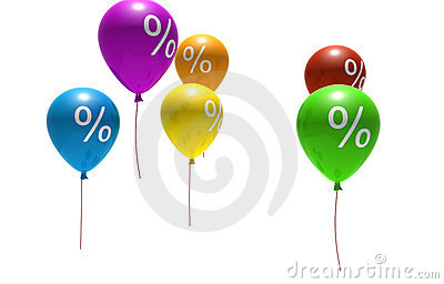 Balloons with percent symbols