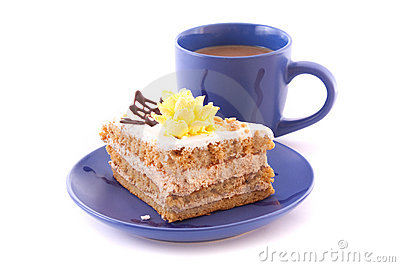 Cake and cup isolated