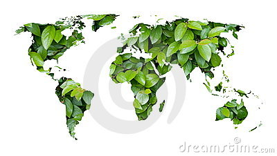 World map of green leaves