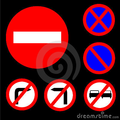 Six Round Prohibitory Red,white and blue Road Sign