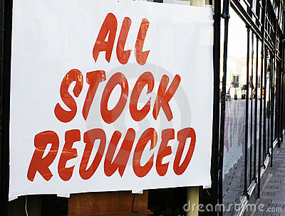 All stock reduced sign